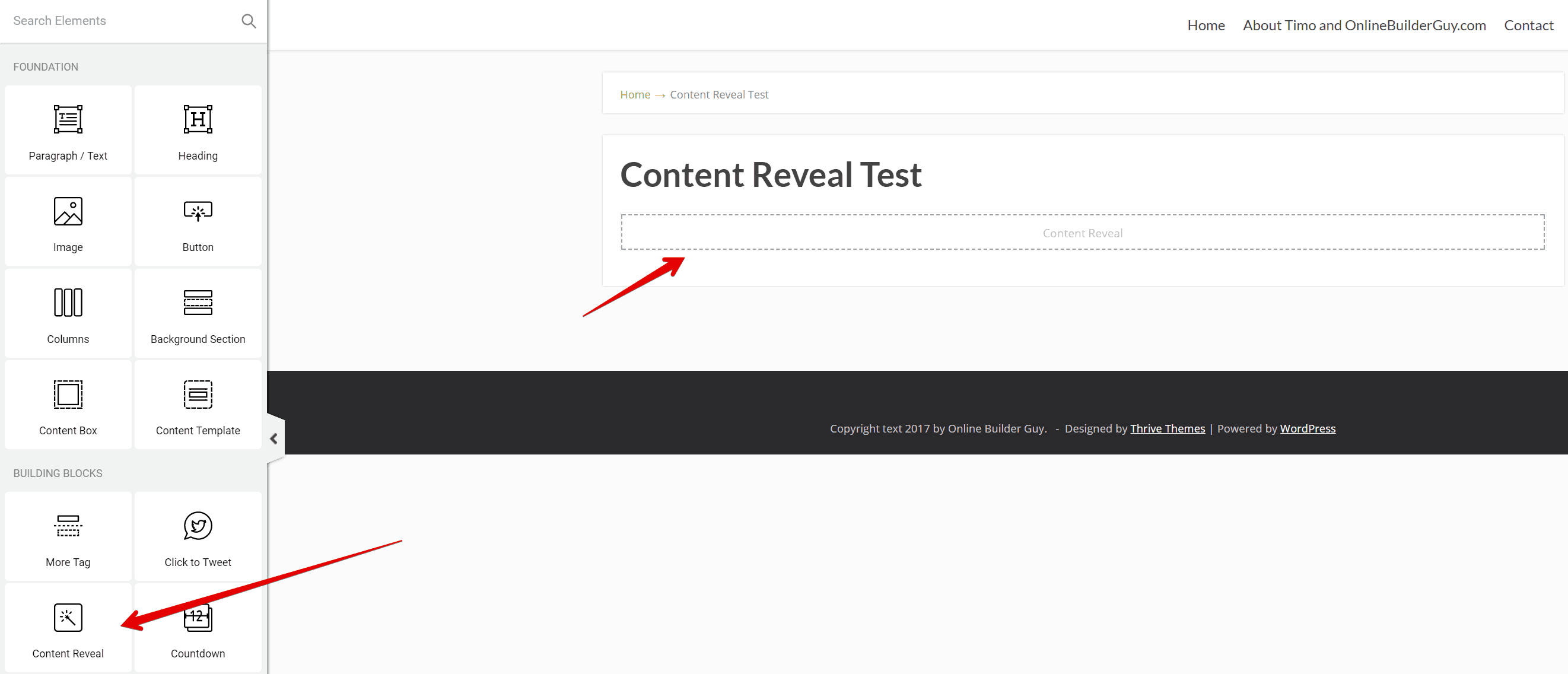Thrive Architect tutorial: Content Reveal element