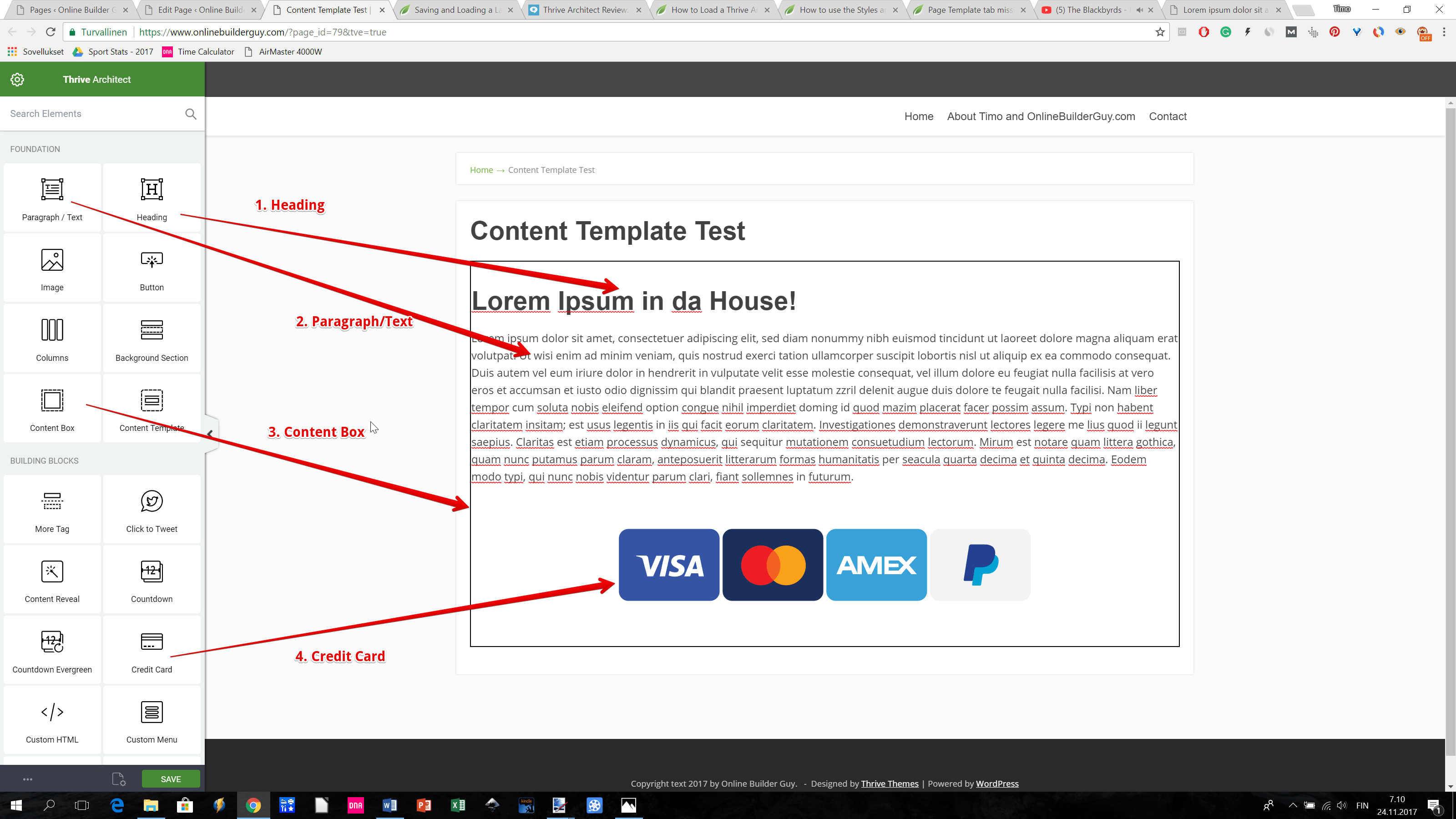 Thrive Architect tutorial: Content Template elements