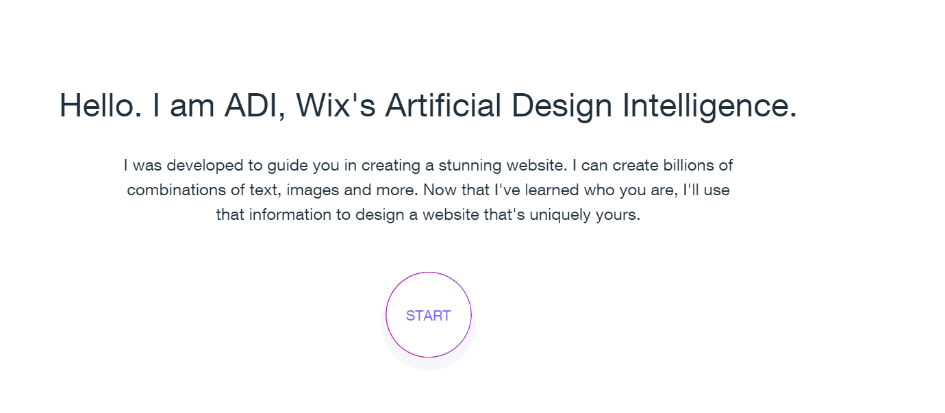 Wix ADI welcome screen