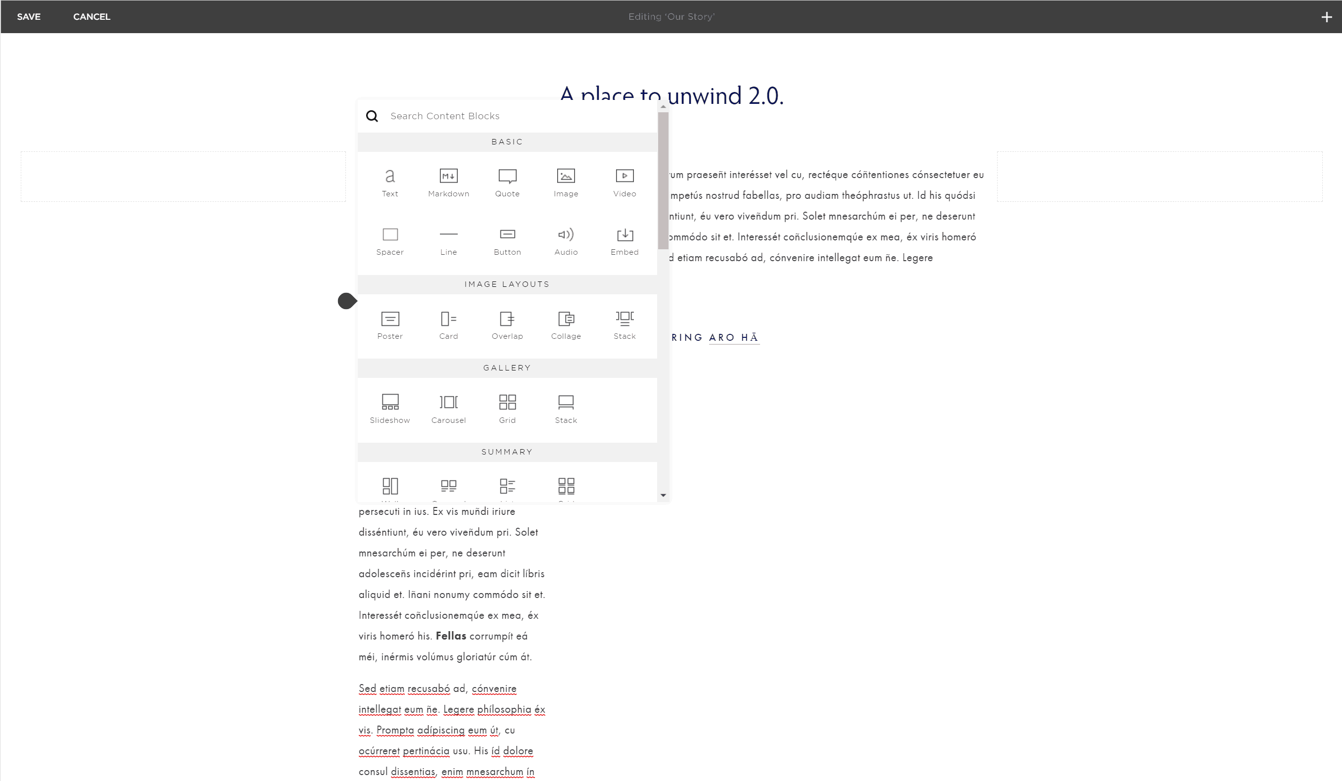 Squarespace editor - The dots