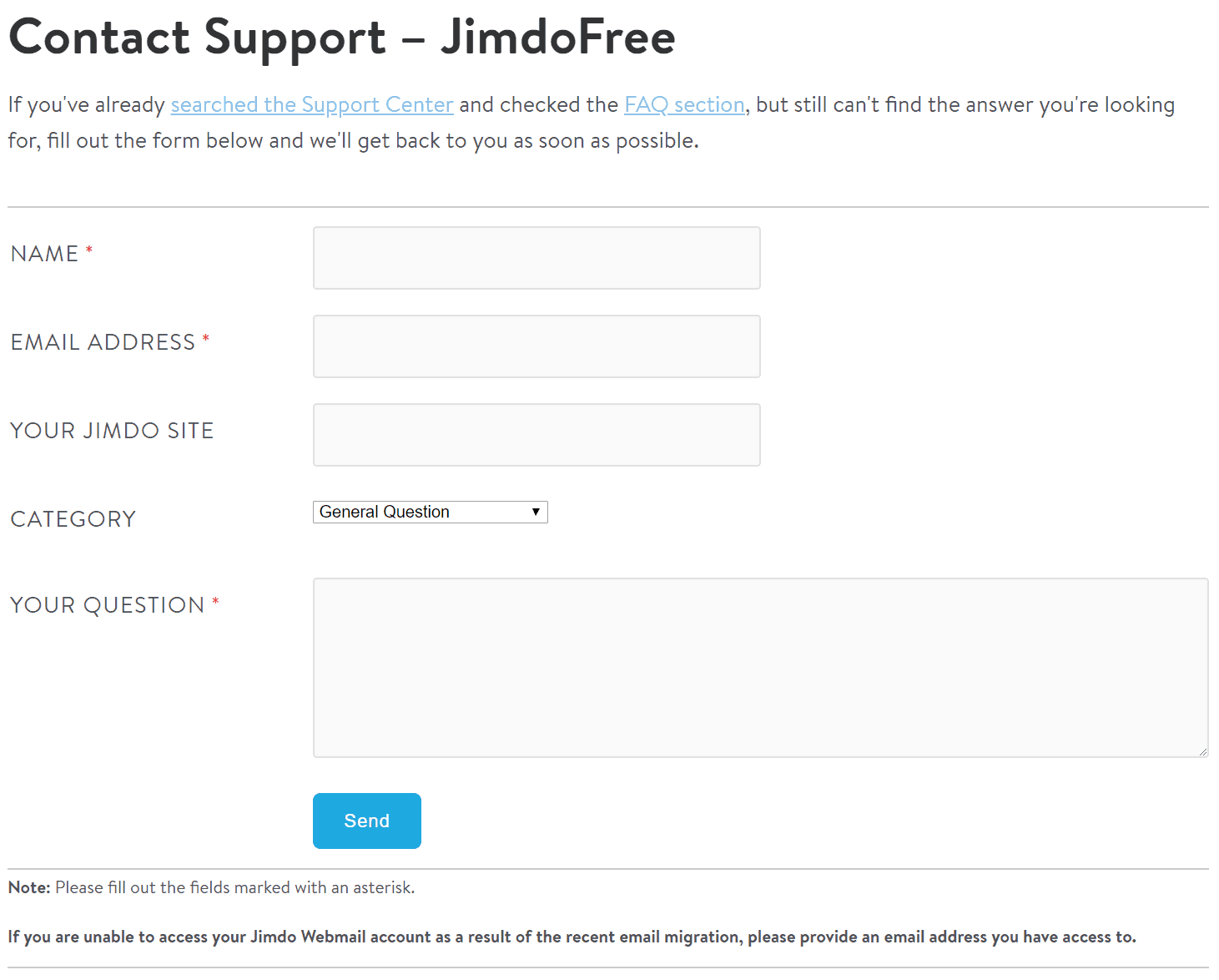 Jimdo Support Form