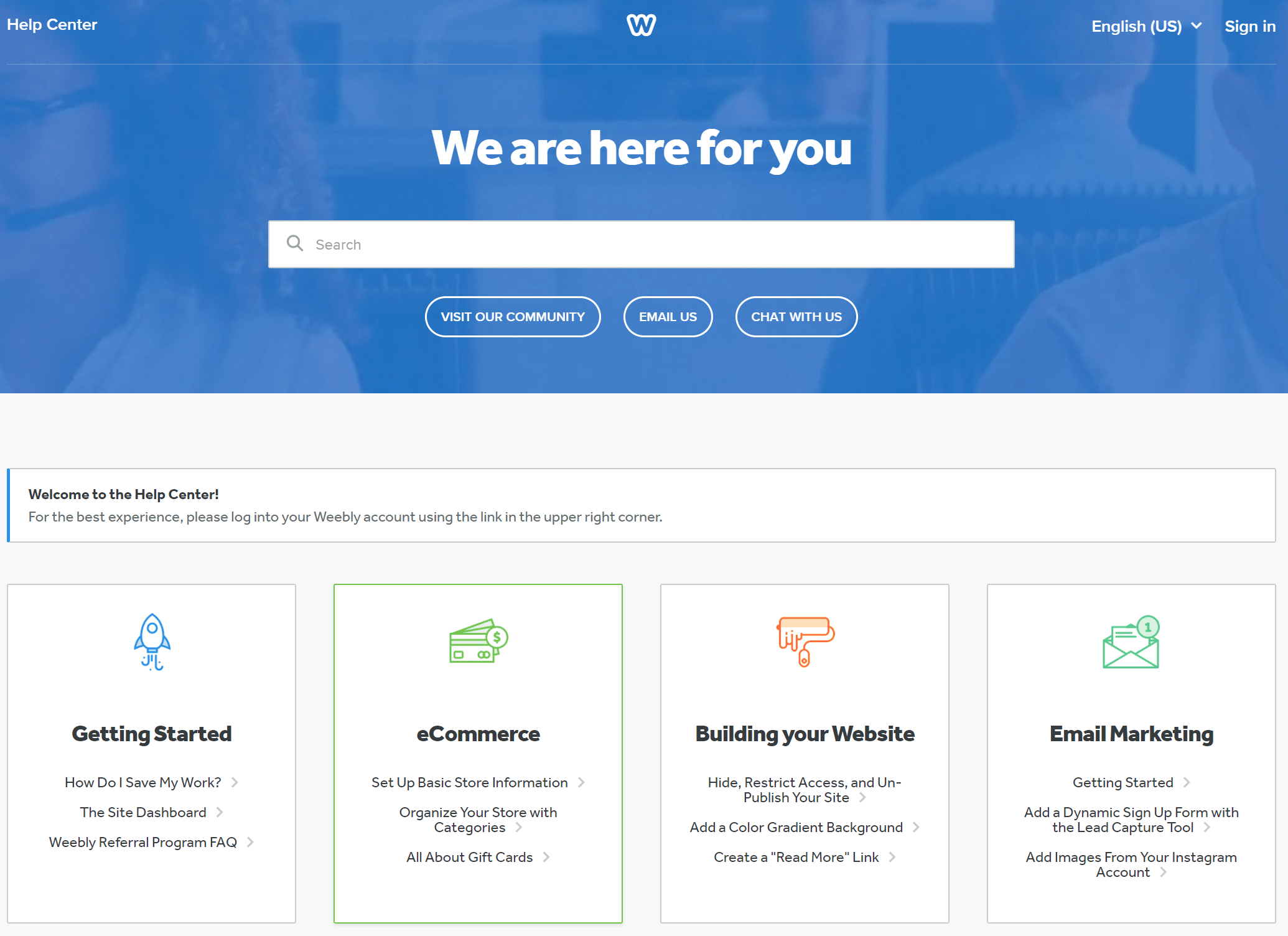 Weebly Support Center