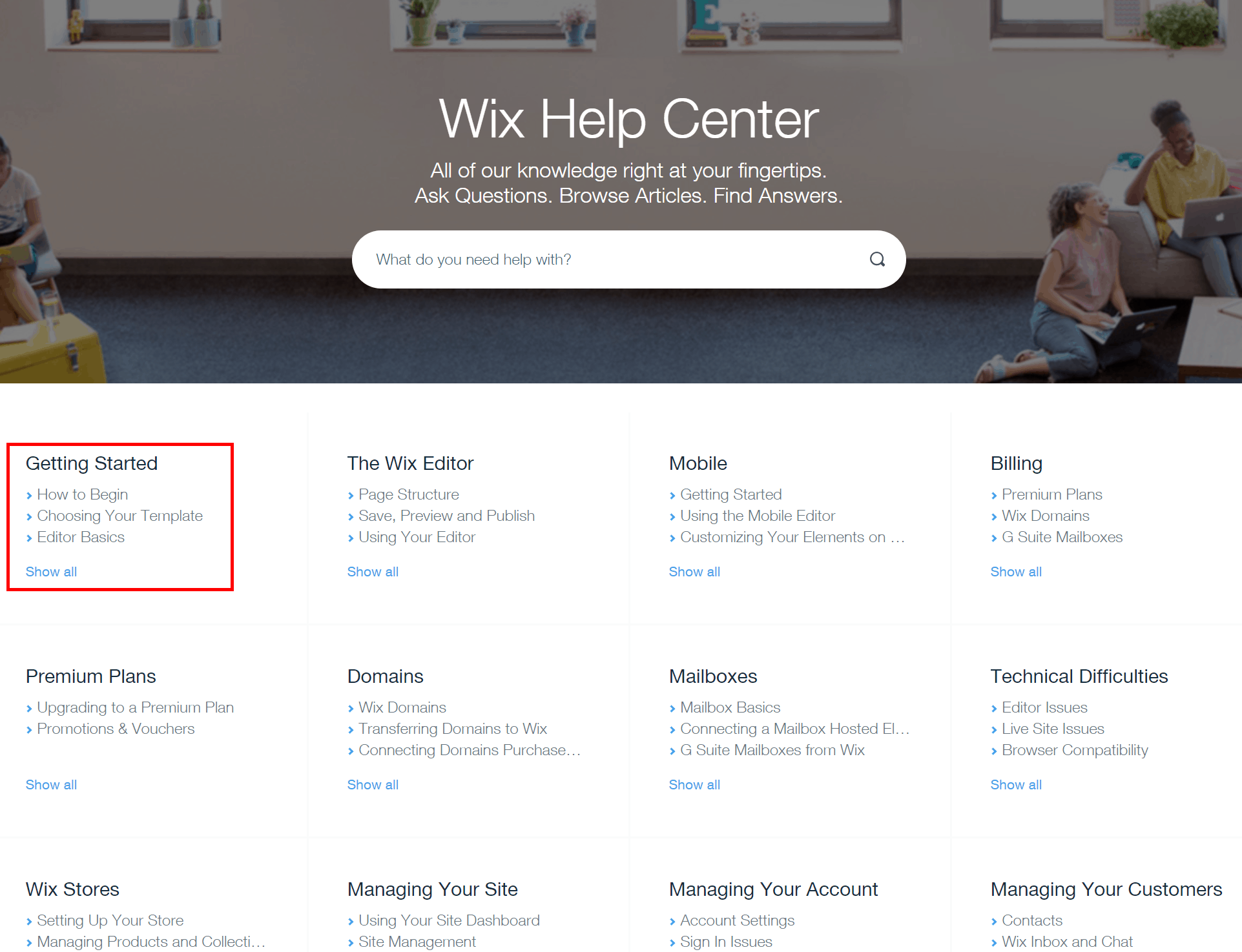Wix Help Center Getting Started