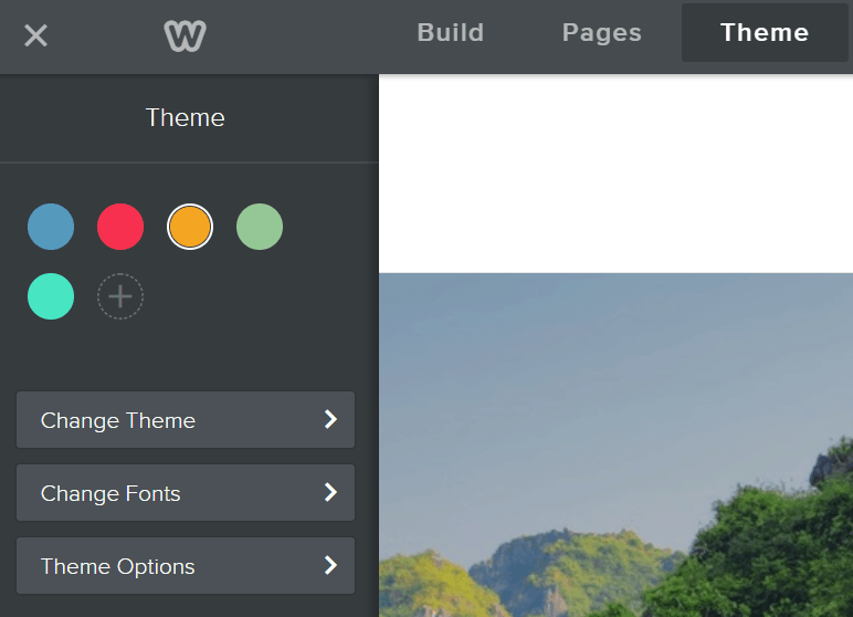 Weebly left side theme options
