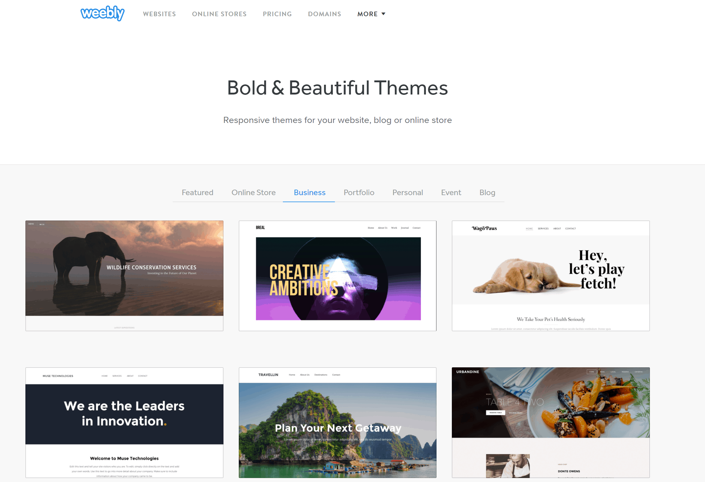 Weebly website templates page