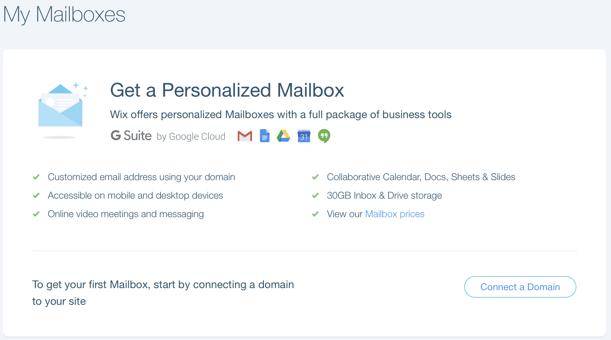 wix email options