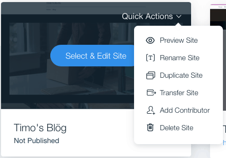 wix quick actions