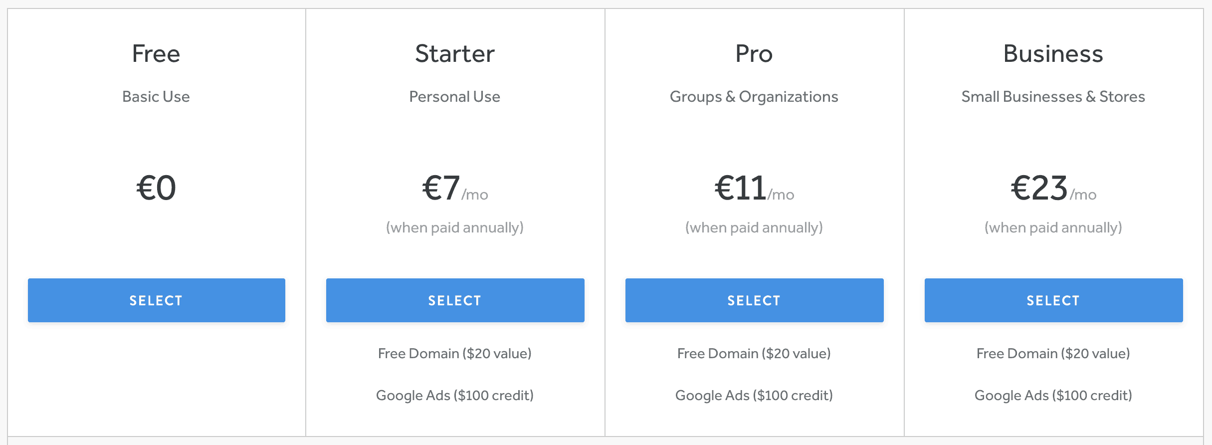 weebly pricing without month to month prices