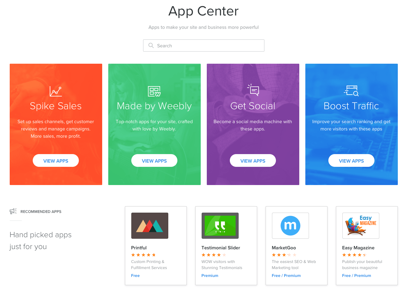 weebly app center frontpage
