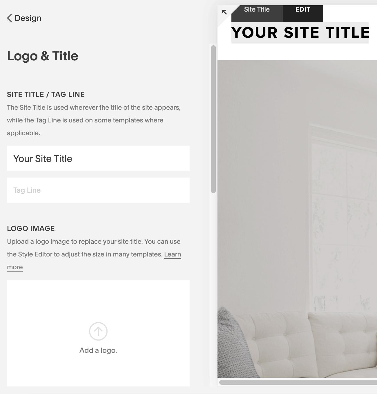 squarespace edit site title