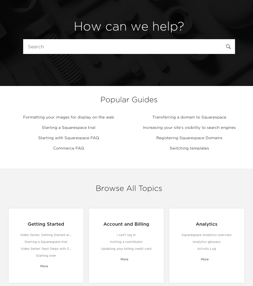 squarespace knowledge base