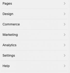 squarespace left sidebar menu