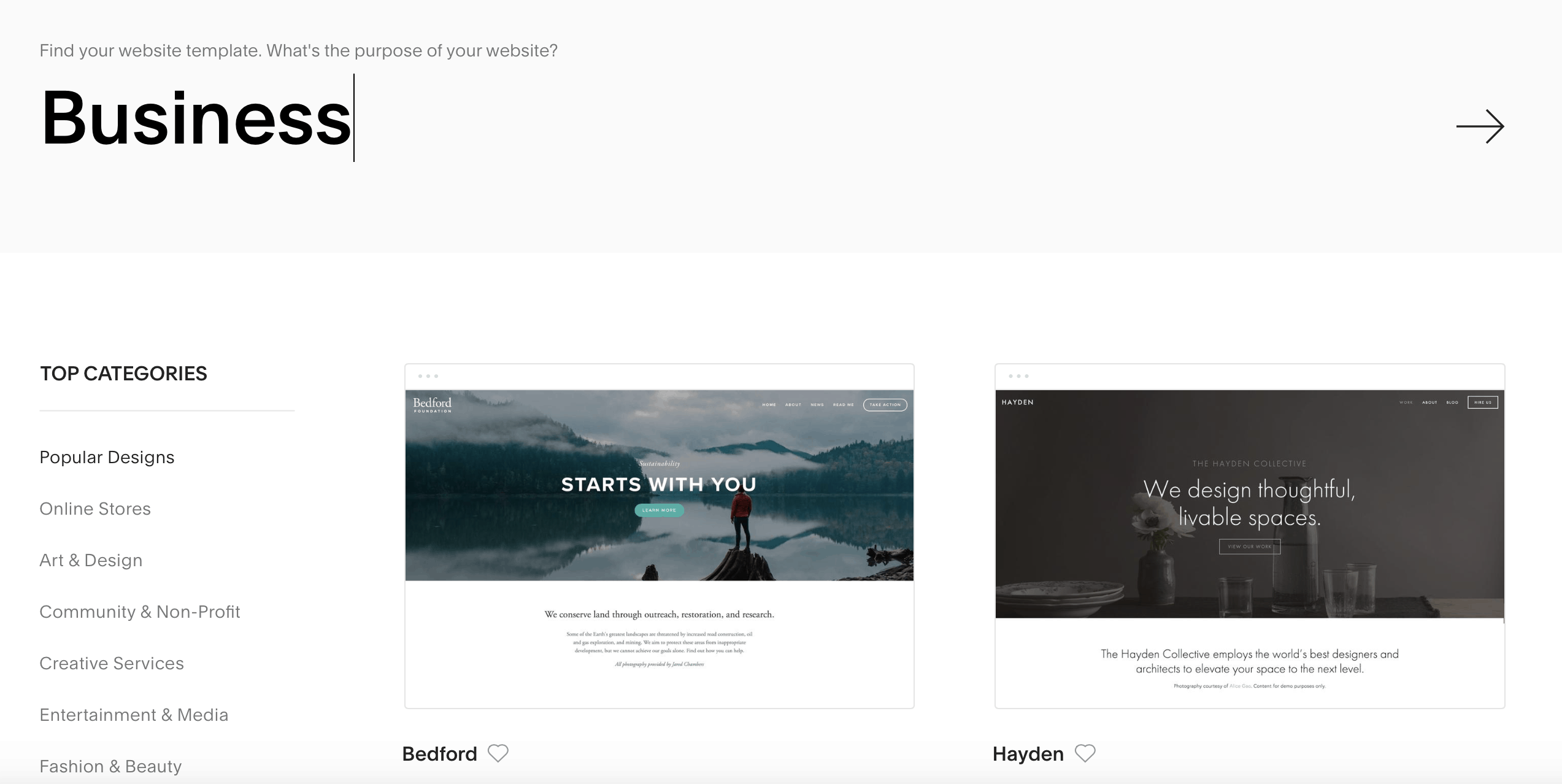 squarespace templates frontpage