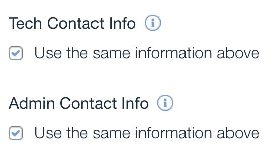 wix purchase domain tech admin contact info