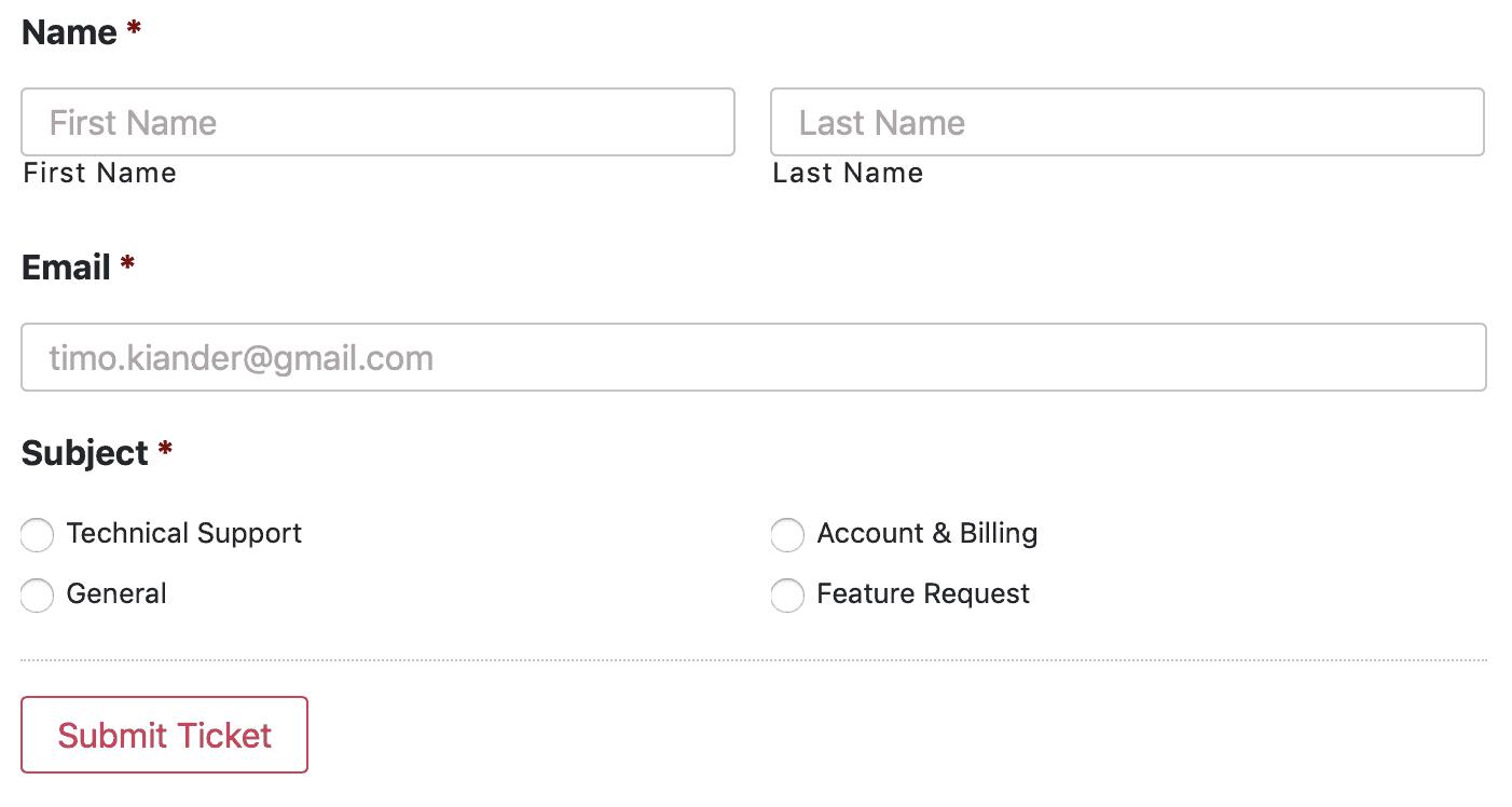 elementor email submit ticket