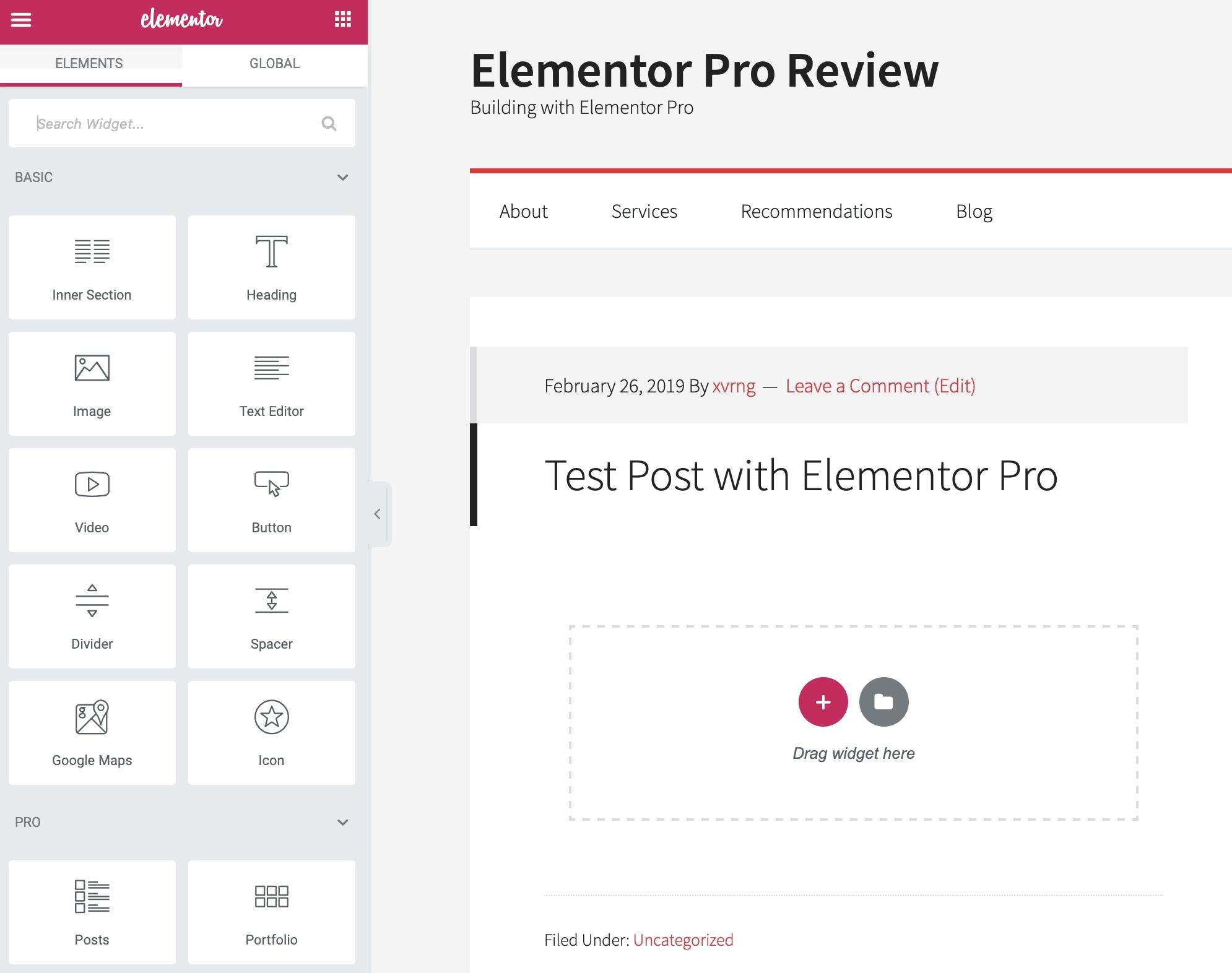 elementor pro review ui start