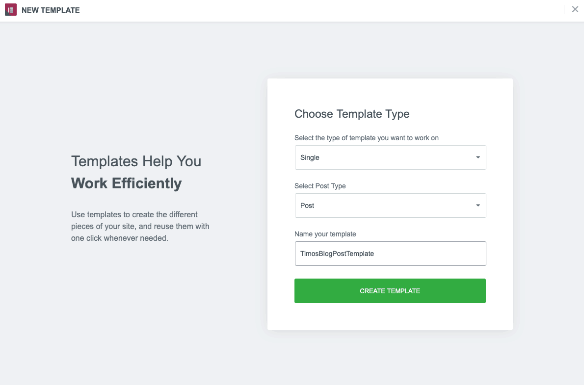 elementor single post template selection