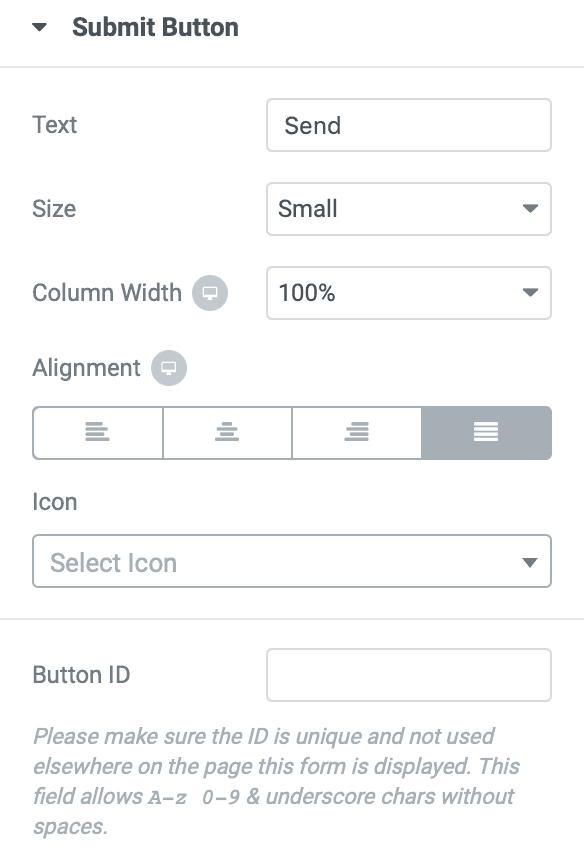 elementor submit button