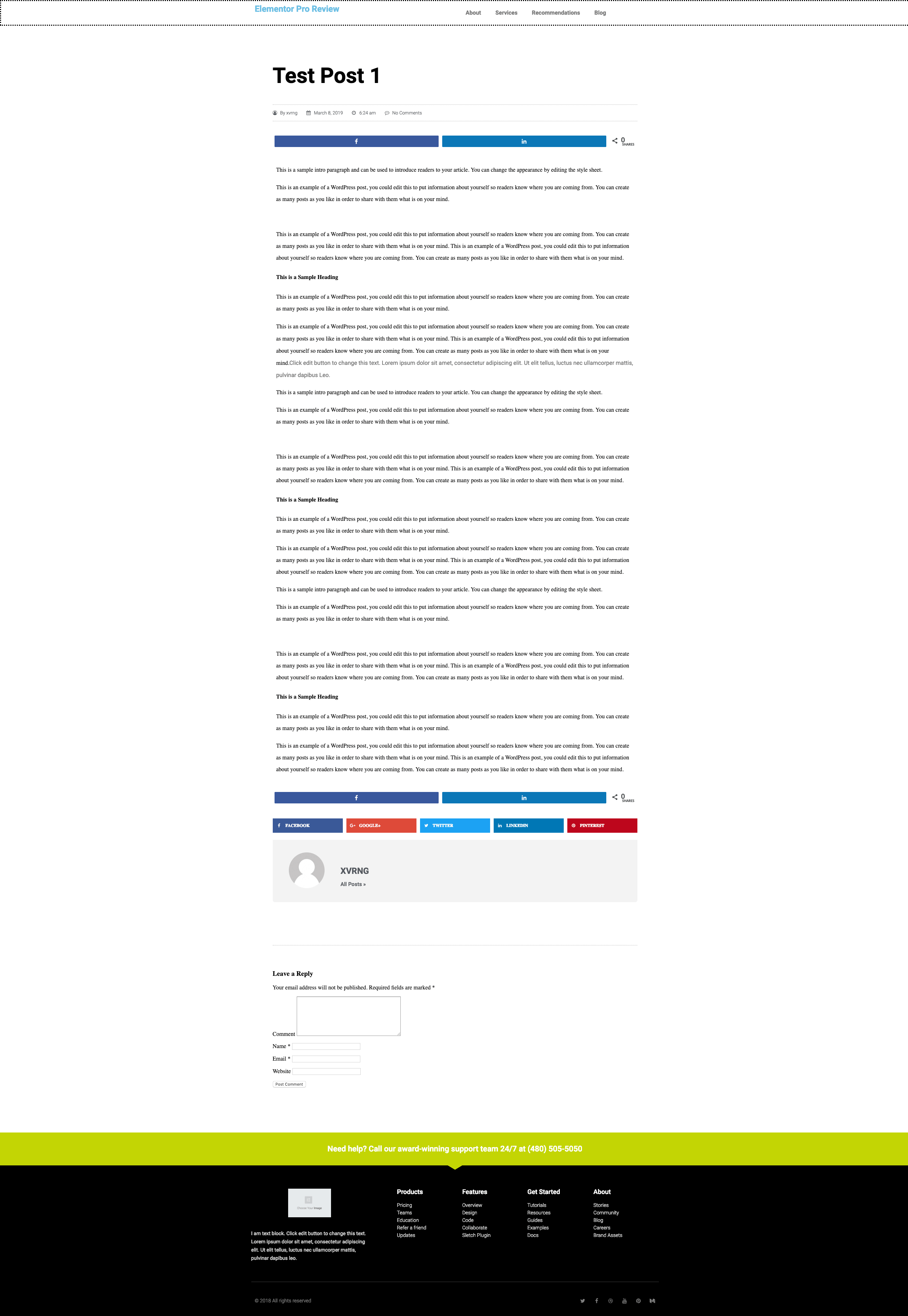 elementor template full page