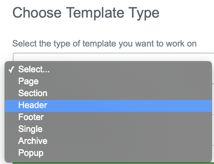 elementor theme builder choose template type