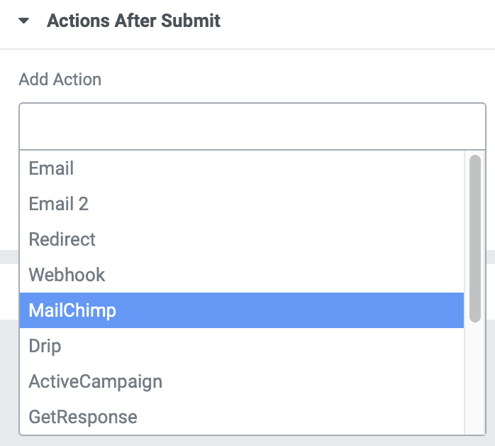 elementor actions after submit