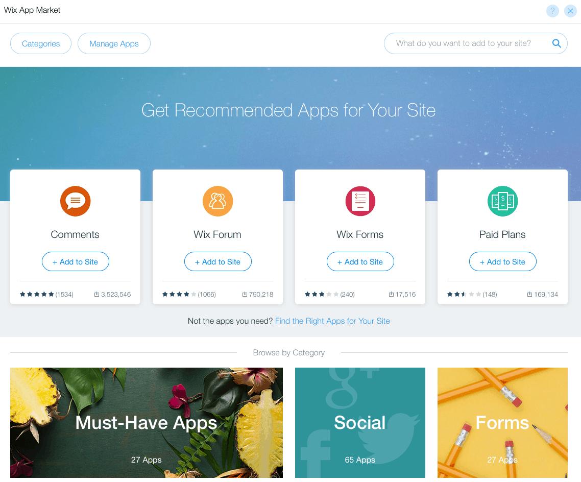 wix advantages disadvantages app market open