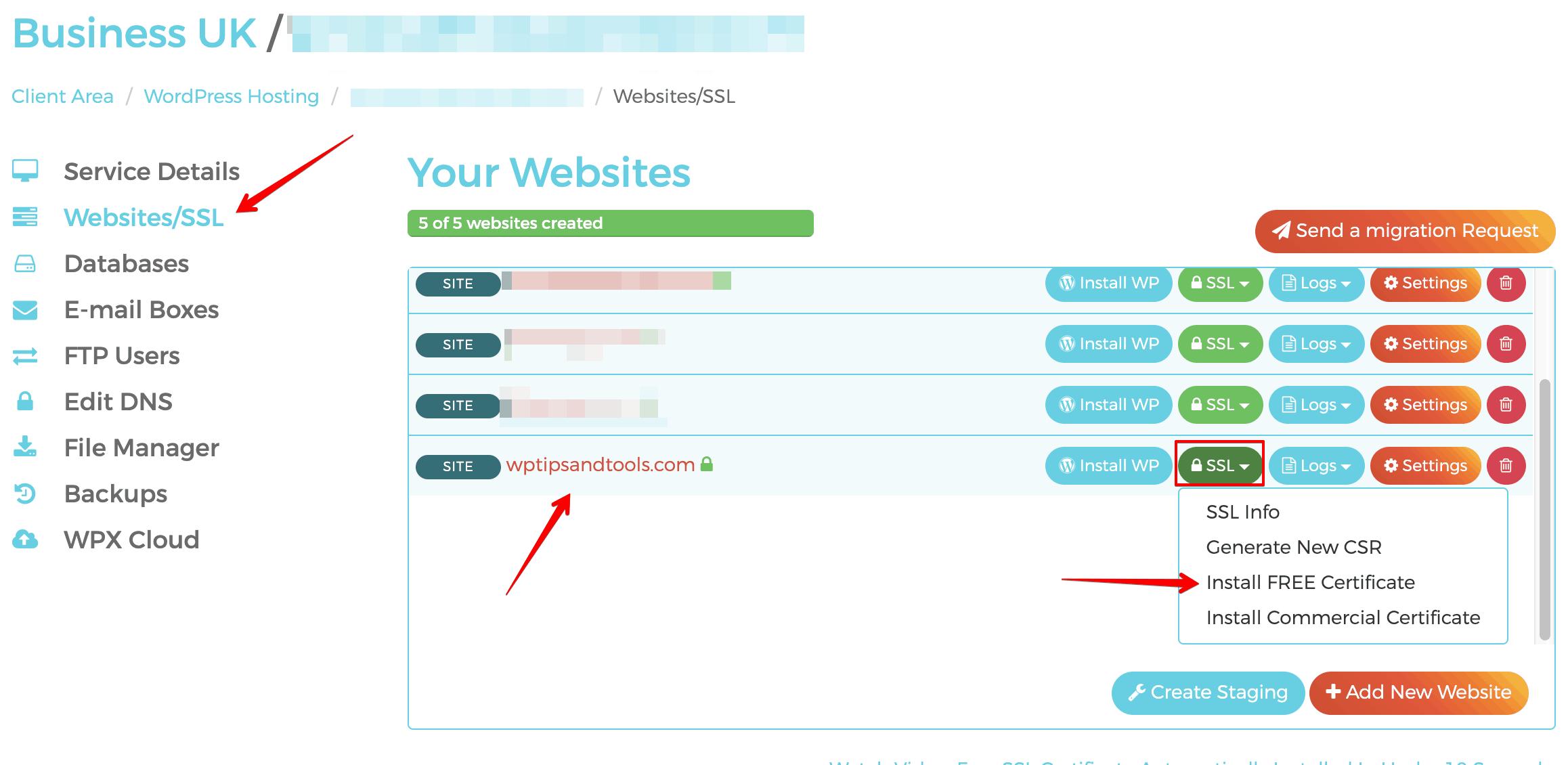 WPX hosting install ssl