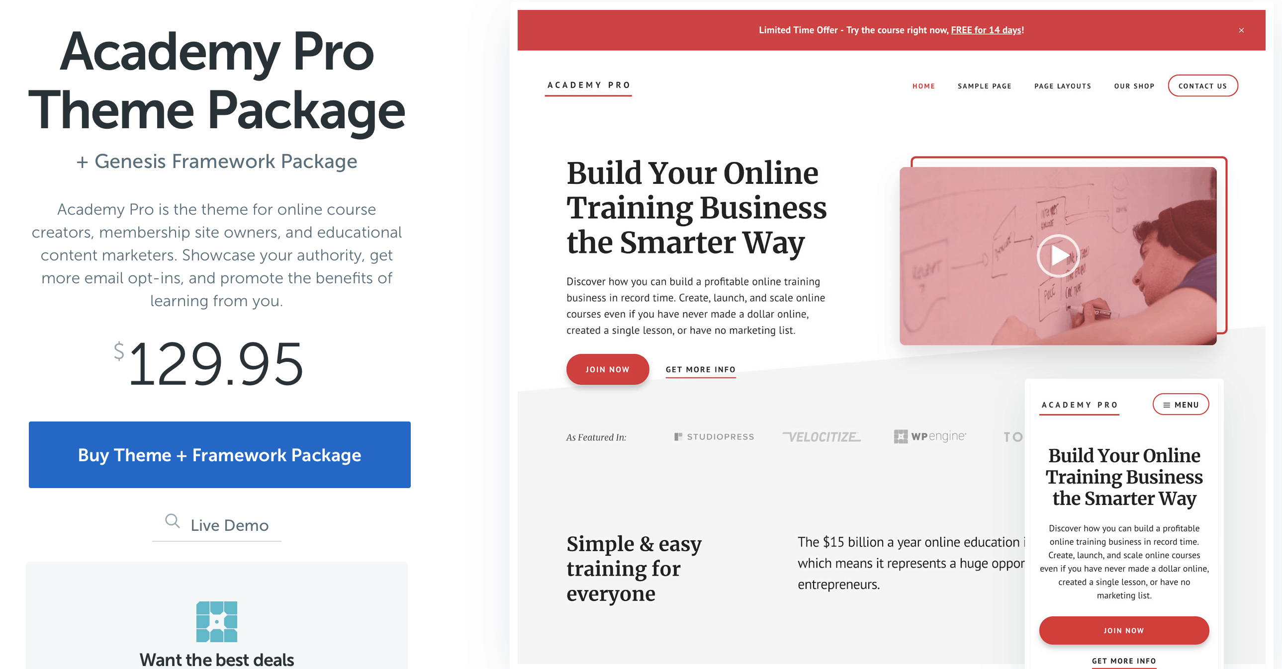 academy pro package