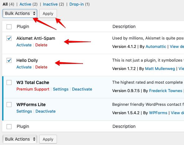 delete plugins