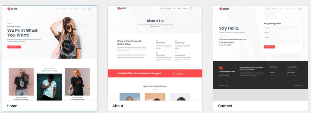 custom printing starter site