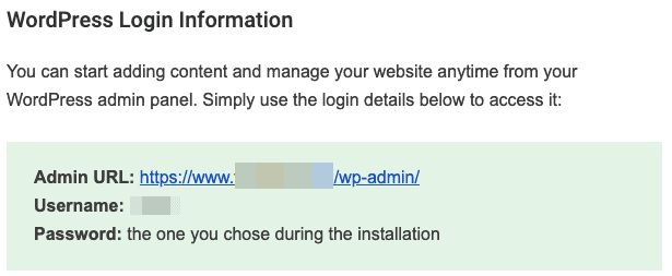 wordpress installation confirmation